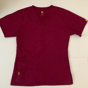 Red/ Burgundy WonderWink Scrub Top